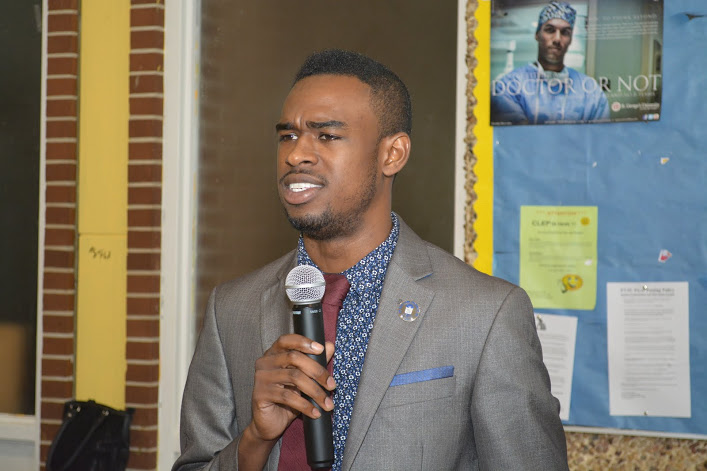 Student performs skit at 120th Anniversary Celebration