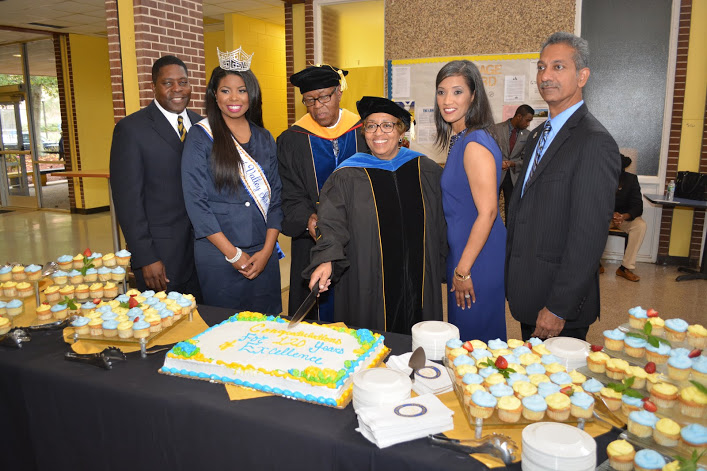 A cake is cut in honor of FVSU's 120th Anniversary Celebration