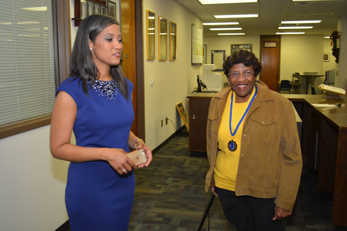 Dr. Marcie Hunt Harris and Wilmetta Jackson at Hunt Memorial Library.