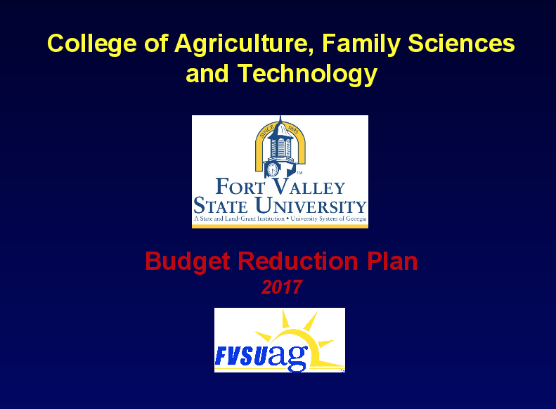 College of Agriculture Budget Proposal
