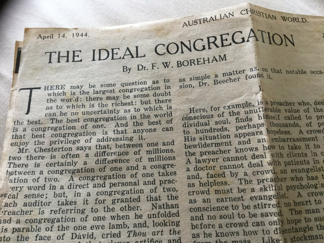 The Ideal Congregation, originally appeared in the Australian Christian World in 1944 and was later published in the 1954 book- Dreams At Sunset. Click here to read the essay.
