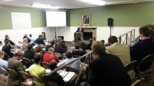The audience listened intently to Dr. Coppenger's enthusiastic presentation.