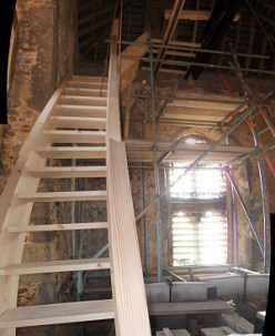 New tower access stairs under construction in the Bell Chamber (1)