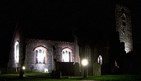The Church at night showing the new floodlighting