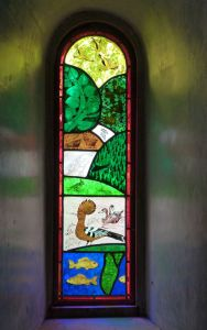 Creation 3a stained glass window