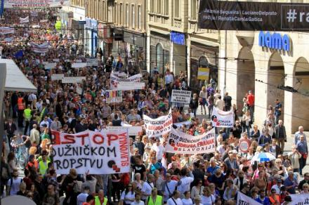 People march during a protest organized by Udruga Franak in Zagreb's downtown April 25, 2015. REUTERS/Antonio Bronic