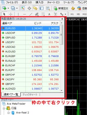 MT4操作-通貨ペアメニューを表示する