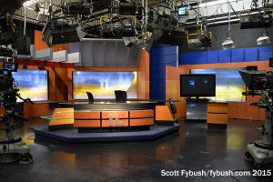 The studio end of the newsroom