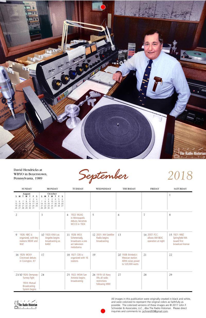 JUST IN! The Radio Historian's 2018 Classic Radio Studios Calendar