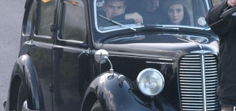Theo James Drives Vintage Car During 'The Secret Scripture' Filming In Dublin
