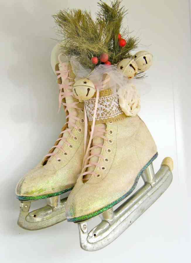 Vintage skates laced with silk