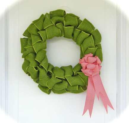 Green burlap and chevron bow wreath
