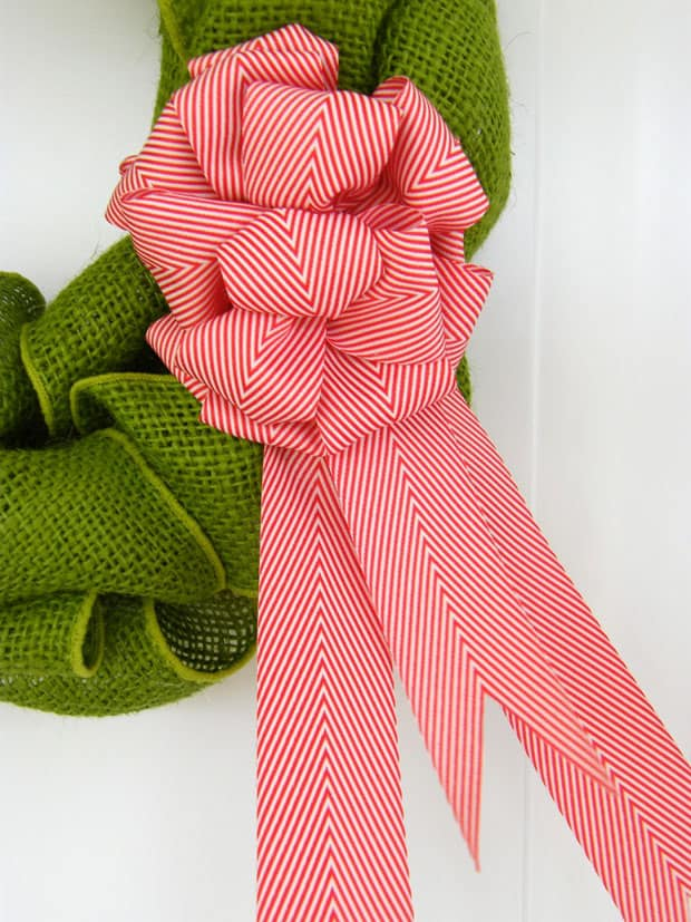 Candy Cane Chevron Bow