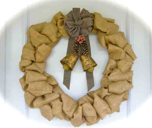 Burlap and Bells Wreath