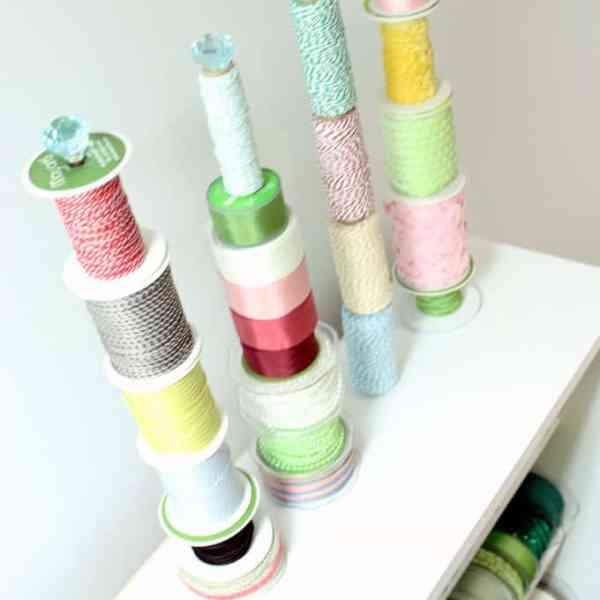 DIY Ribbon Storage Rack Tutorial featured by top US craft blog, FYNES DESIGNS