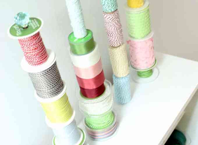 DIY Ribbon Storage Rack Tutorial featured by top US craft blog, FYNES DESIGNS