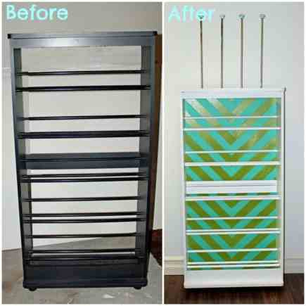 DIY Ribbon Storage Rack Tutorial featured by top US craft blog, FYNES DESIGNS: before and after VHS stand to ribbon organizer