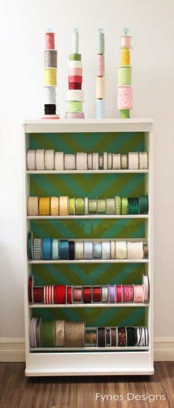 DIY Ribbon Storage Rack Tutorial featured by top US craft blog, FYNES DESIGNS: Ribbon storage idea from an old VHS rack