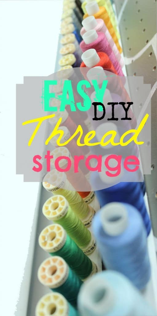 DIY Thread Rack by popular Canada DIY blog, Fynes Designs: image of a DIY thread rack with colorful spools of thread.