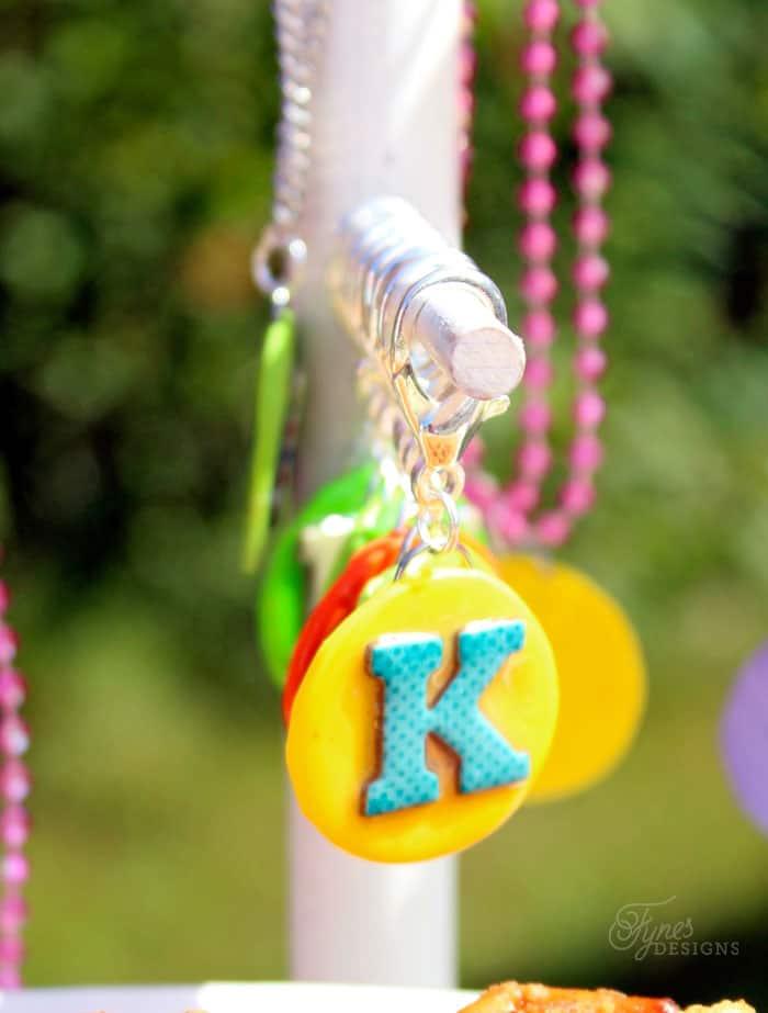 clay monogram keychains- easy DIY for a boys birthday party