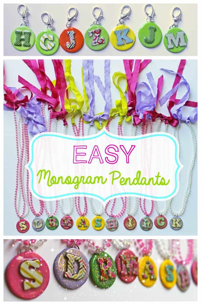 Easy step by step tutorial for clay monogram jewelry. Make a super cute party favor