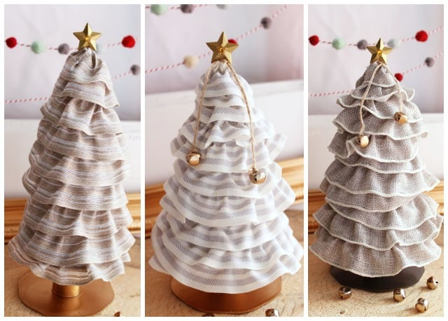 99¢ Christmas Tree Cones. You HAVE to see this idea. You'll be ah-mazed how ridiculously easy this is! | Christmas Tree Cone by popular Canada DIY blog, Fynes Designs: collage image of a DIY Christmas tree cone.