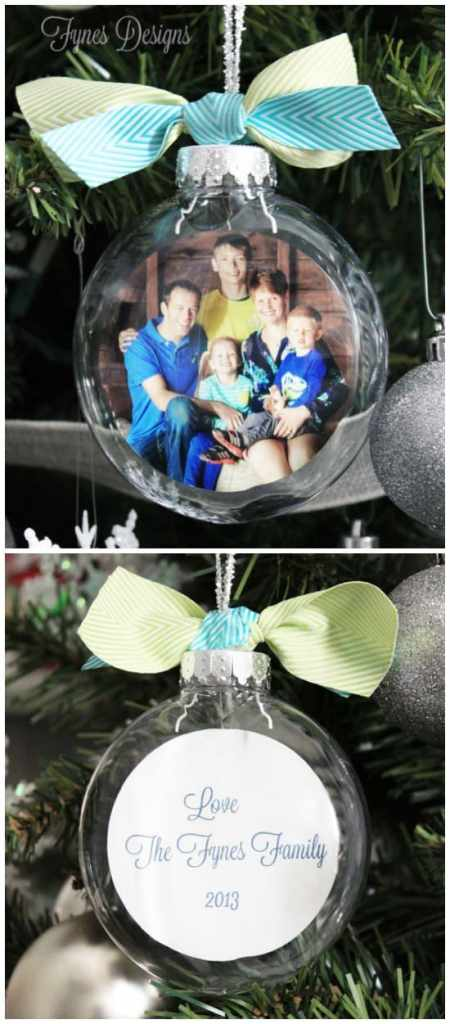 DIY Glass Photo Ornament, a tutorial featured by top US life and style blog, Fynes Designs:You won't believe how easy it is to get the photo inside the ornament. A MUST see tutorial!