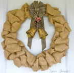 Burlap Wreath with Vintage Bells-12 Days of Door Decor- Day#2-