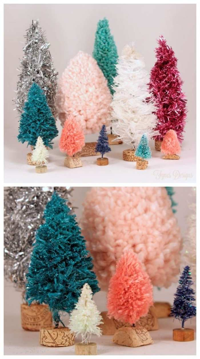 DIY bottle brush tree tutorial, featured by top US craft blog, Fynes Designs: Colourful bottle brush trees made with unique materials