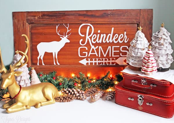 Reindeer Games Holiday Painted Sign