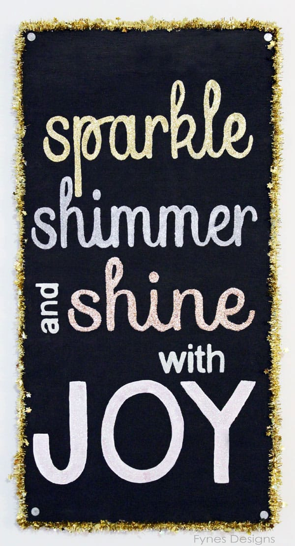 Glitter #Christmas decoration sign. Trim with tinsel to enhance the glitter