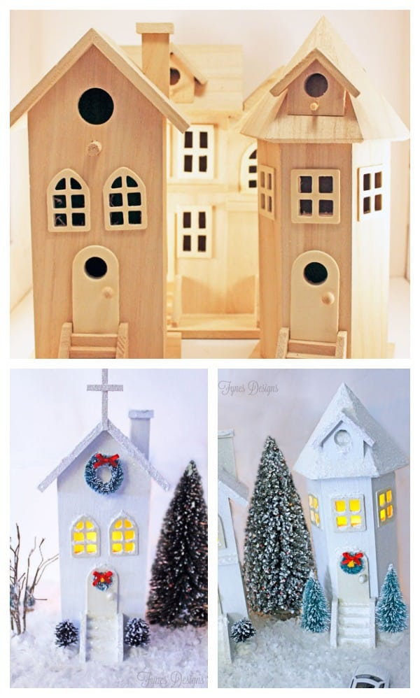 Before and After Village. Made from Michaels Birdhouses