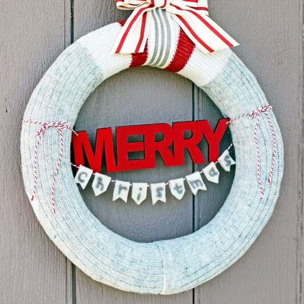 Christmas wreath made with garbage WOOL SOCKS!