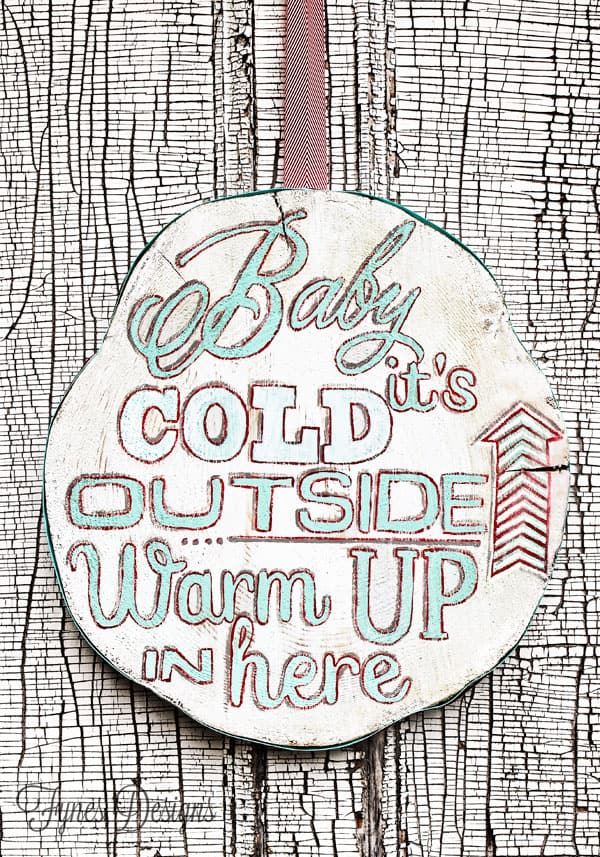 Hand painted wood slice for a cute winter decoration