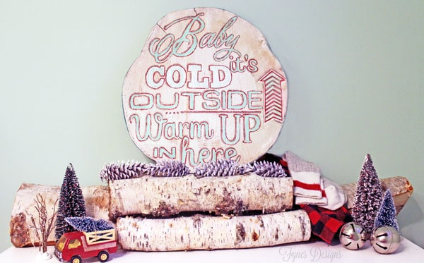 Baby it's cold painted wood slice- cozy little decoration for the winter from fynesdesigns