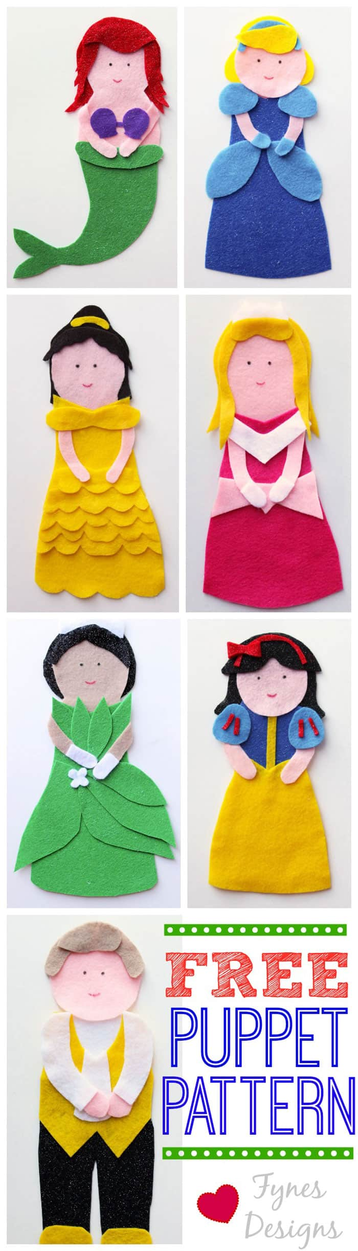 Disney Princess Puppets Tutorial and FREE Pattern featured by top US craft blog, FYNES DESIGNS: