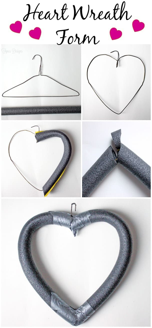 Easy heart shaped wreath form from fynesdesigns.com |Heart Shaped Wreath by popular Canada DIY blog, Fynes Designs: collage image of a wire hanger being shaped into a heart and covered with foam.