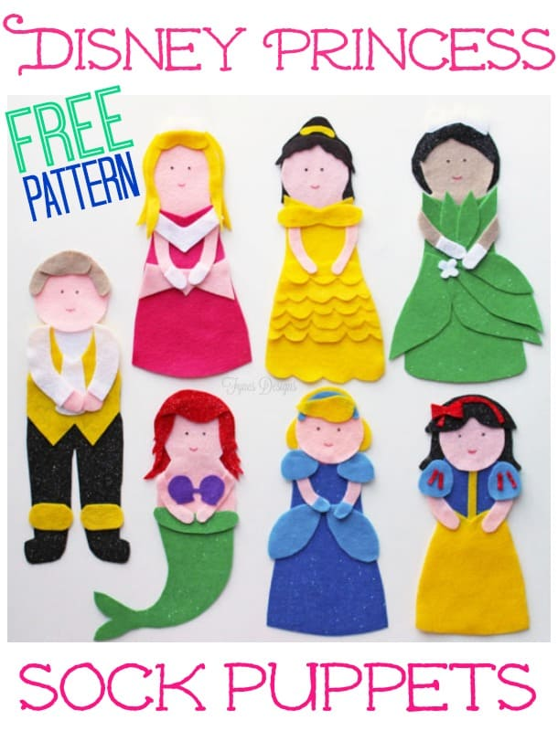 Disney Princess Puppets Tutorial and FREE Pattern featured by top US craft blog, FYNES DESIGNS:NO SEW Princess Puppets- click for a FREE pattern!
