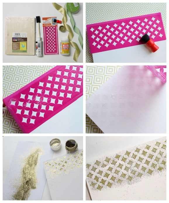 how to use Mod Podge Rocks Glitter stencils