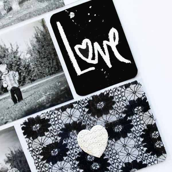 Embossed brush script project life cards