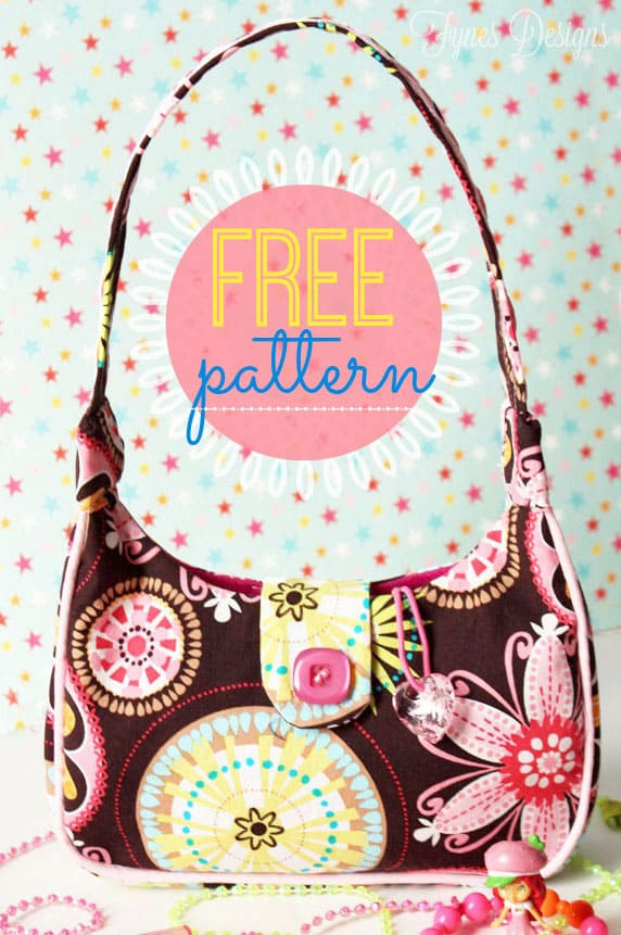 Free kids purse pattern , tutorial featured by top US craft blog, Fynes Designs