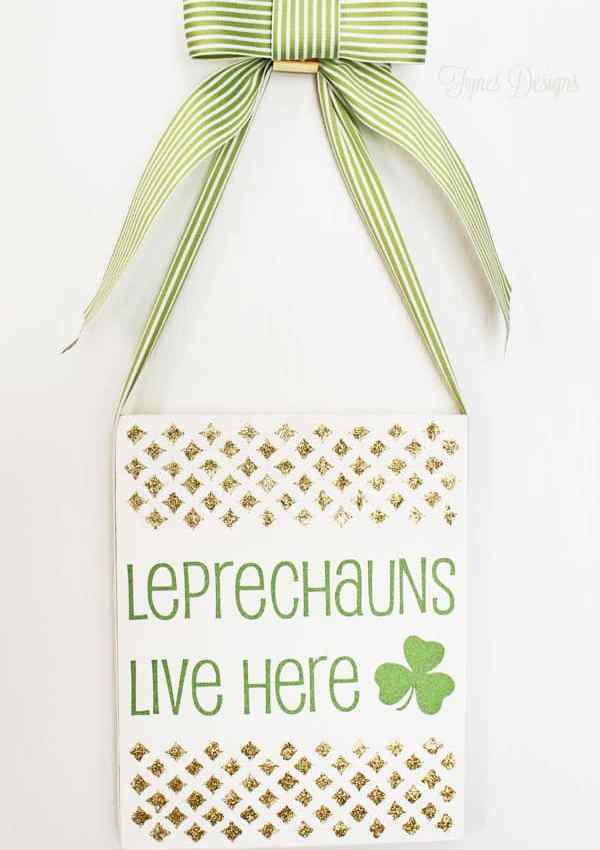Leprechauns Live Here Sign with Mod Podge Rocks Stencil