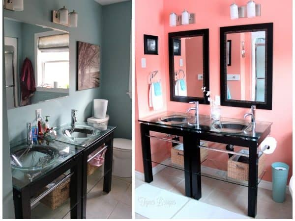 Colourful Bathroom Makeover Ideas: Before and After Pictures featured by top US design blog, Fynes Designs: Before and After
