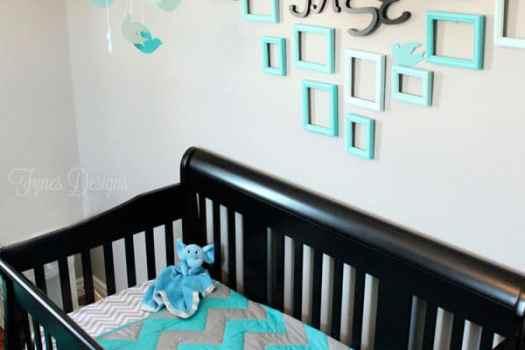 Baby boy nursery #chevron #turquiose #boy #nursery #baby #backandtruquiose