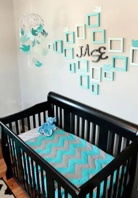 Baby boy nursery #chevron #turquiose #boy #nursery #baby #backandtruquiose