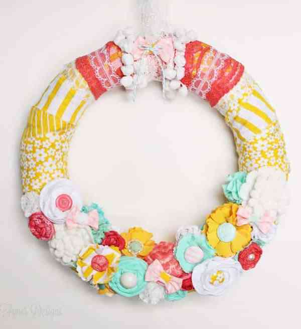Bright and Fun Spring Wreath #spring #wreath #fabric #diy #yellow #lace #ribbon #fabricflowers