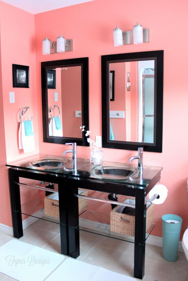 Colourful Bathroom Makeover Ideas: Before and After Pictures featured by top US design blog, Fynes Designs: Coral bathroom