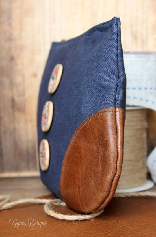 Add leather corners to a zipper pouch for a unique look