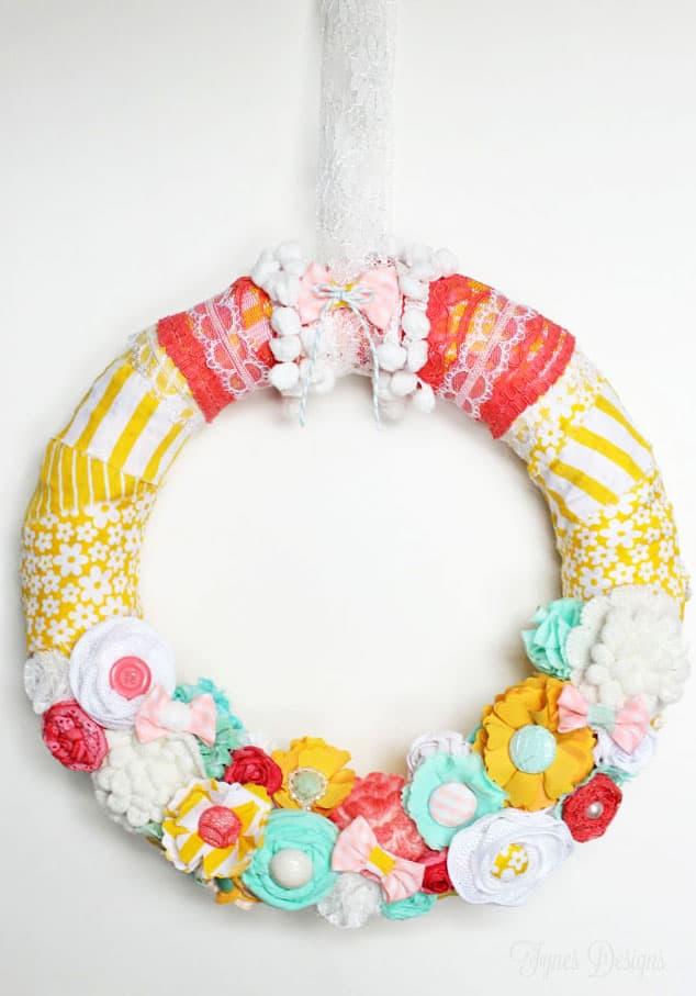 Bright Fabric Flower Spring Wreath