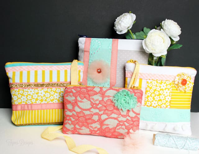 Fun Spring inspired zipper pouches #fabric #sewing #mayartsribbon #fabricflowers #lace #mint #coral #yellow
